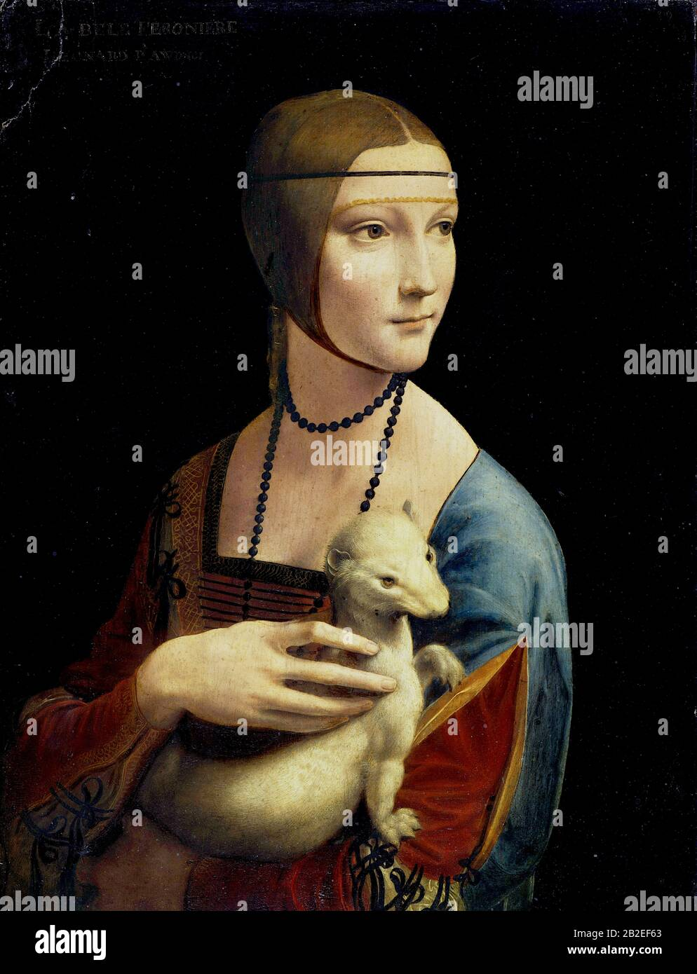 The Lady with an Ermine (Portrait of Cecilia Gallerani) (circa 1490) by Leonardo da Vinci - Very high quality and resolution image Stock Photo