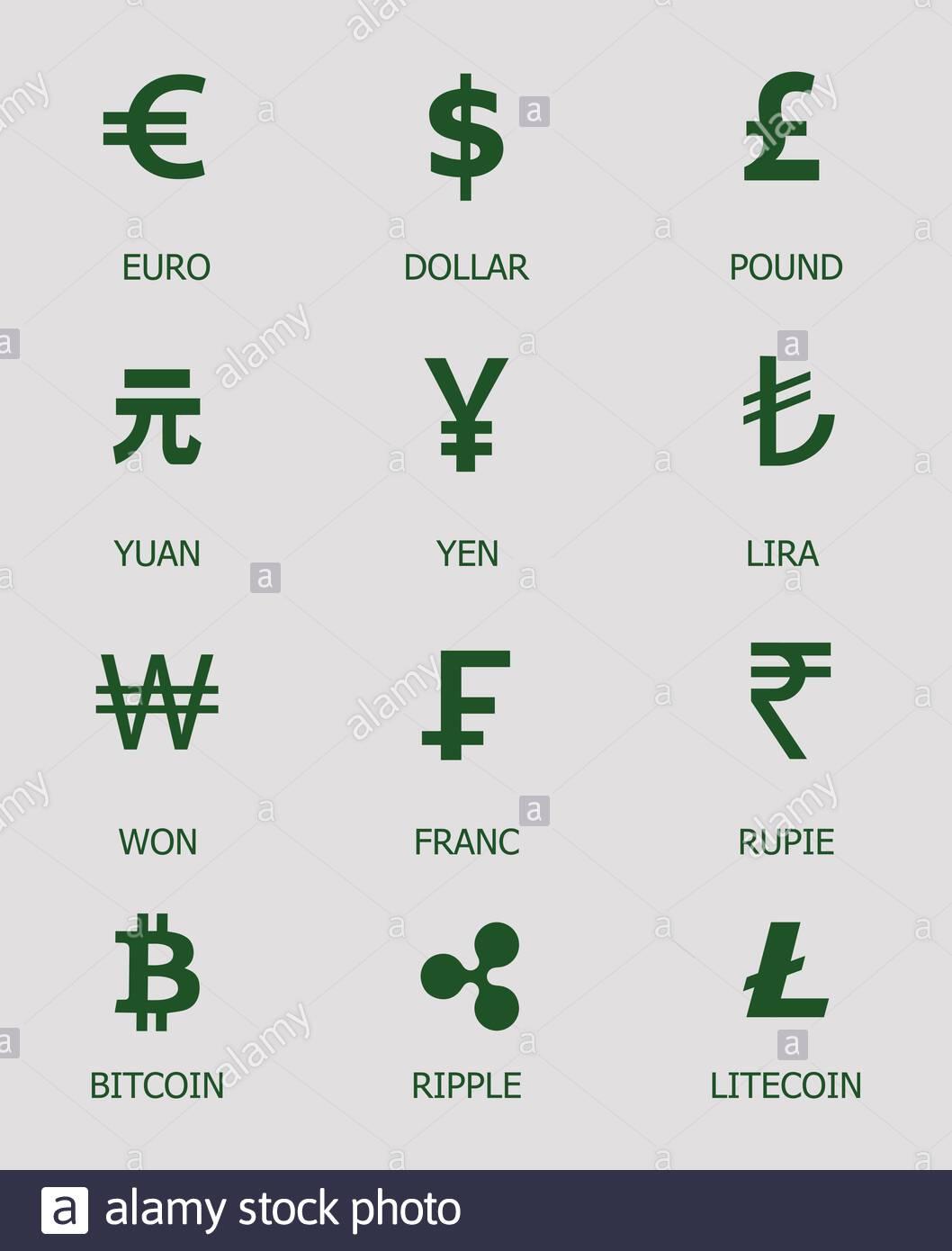 Cryptocurrency symbols on dollar tambourkorps bettinghausen