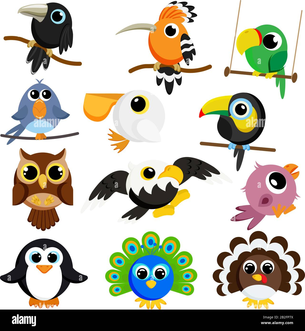 Cute Birds Set Vector Image Cartoon Characters Flat Vector Stock Illustration On White Background Stock Vector Image Art Alamy