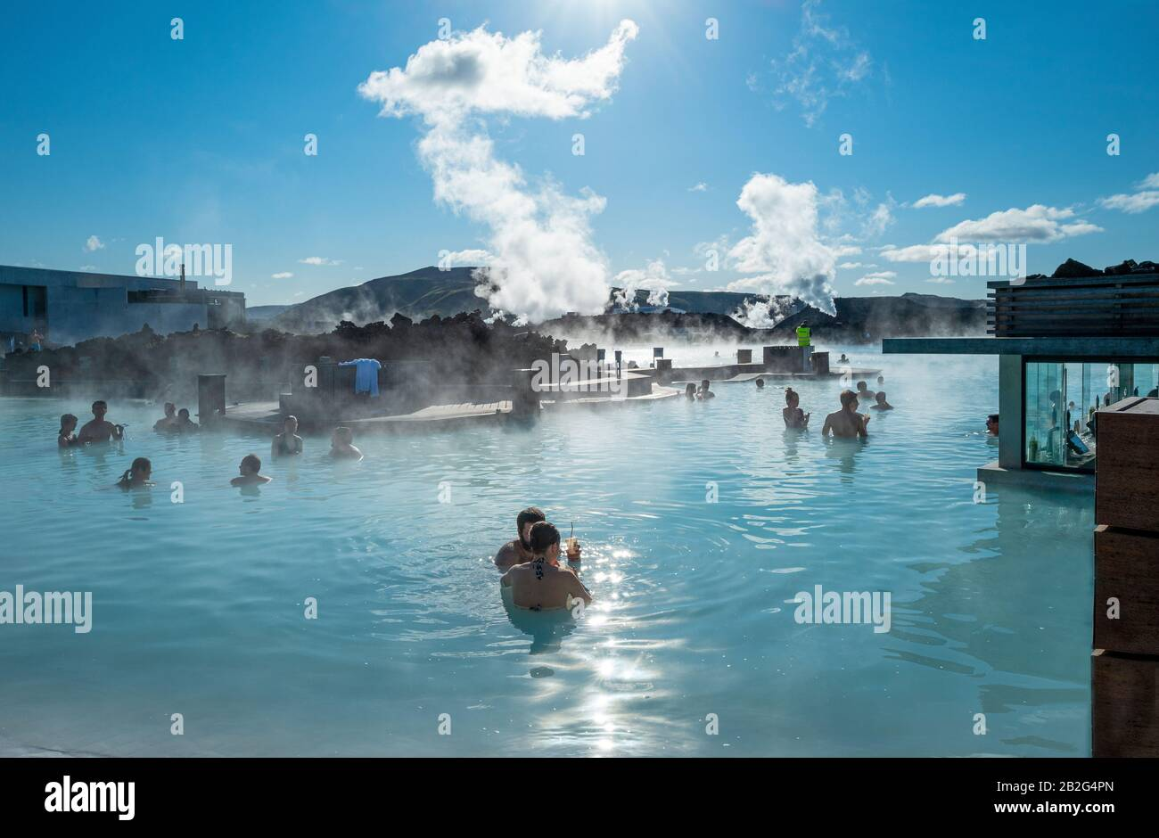 Grindavik, Iceland, Blue Lagoon geothermal hot spring Resort, people in the pool with bar Stock Photo