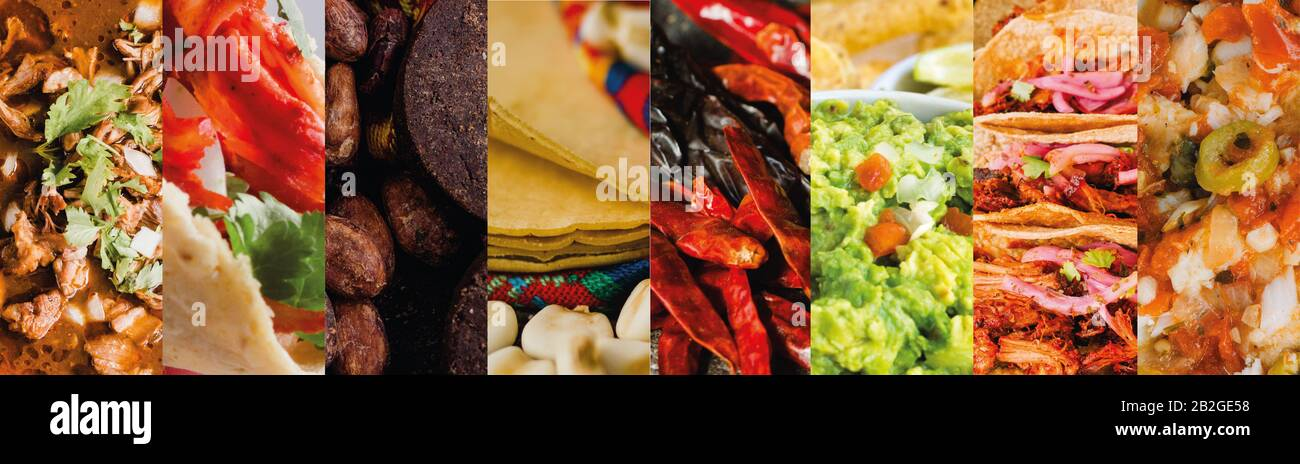 Mexican food: Collage of typical dishes of Mexico including tacos, guacamole, chocolate, birria, chili, tortilla and bacalao a la vizcaina Stock Photo