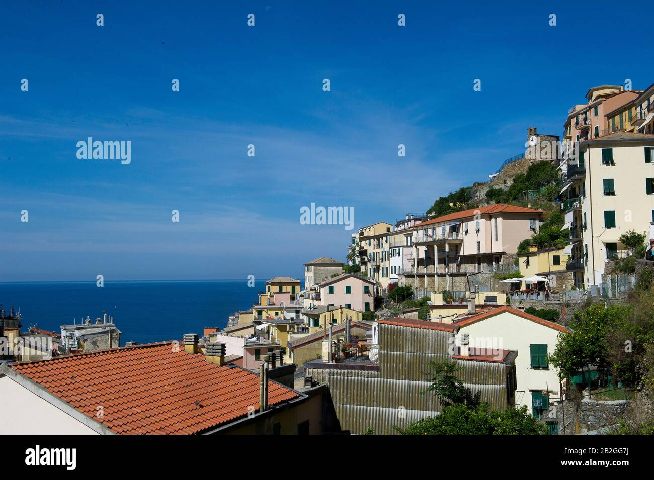 Riomaggiore overlooks the sea in the province of La Spezia, is in the natural park of the Cinque Terre in Liguria, in north-western Italy. It is on the UNESCO World Heritage list Stock Photo
