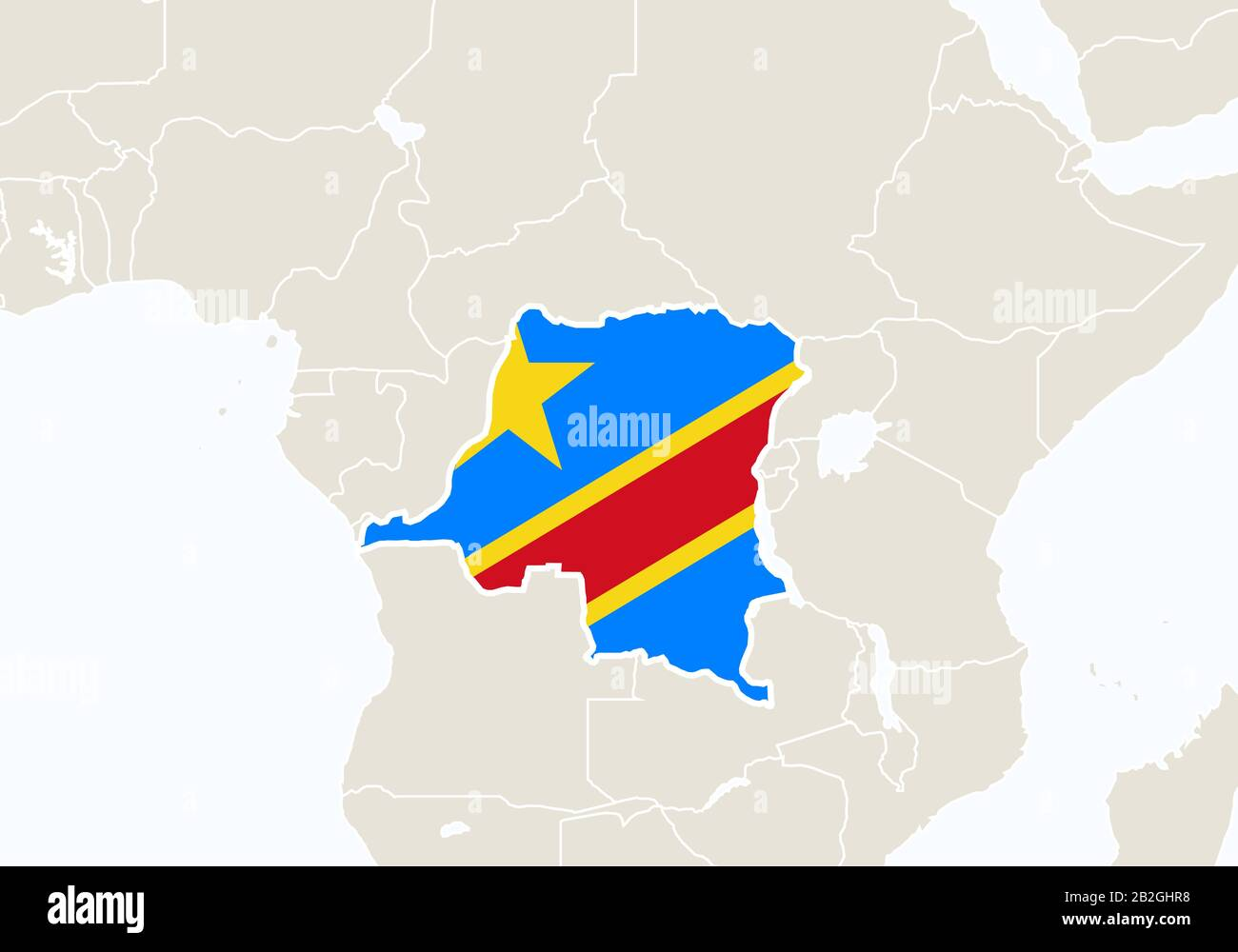 Picture of: Africa With Highlighted Democratic Republic Of The Congo Map Vector Illustration Stock Vector Image Art Alamy