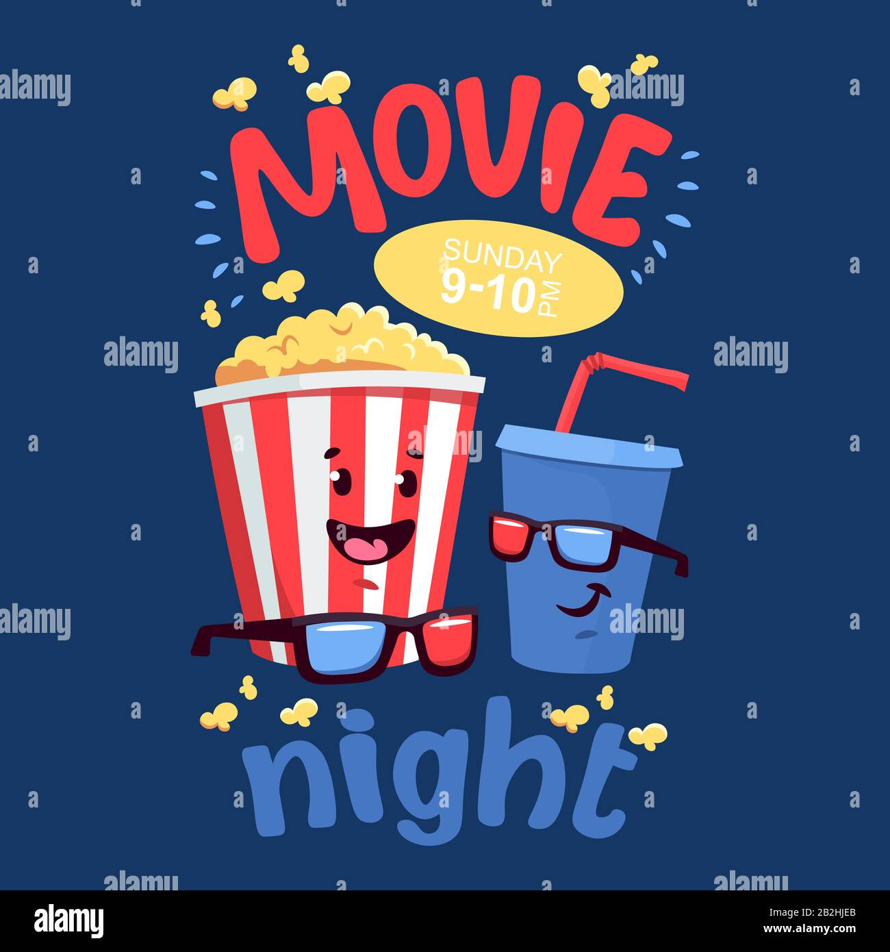 Flat Illustration With Cartoon Movie Popcorn And Soda Stock Vector Image Art Alamy