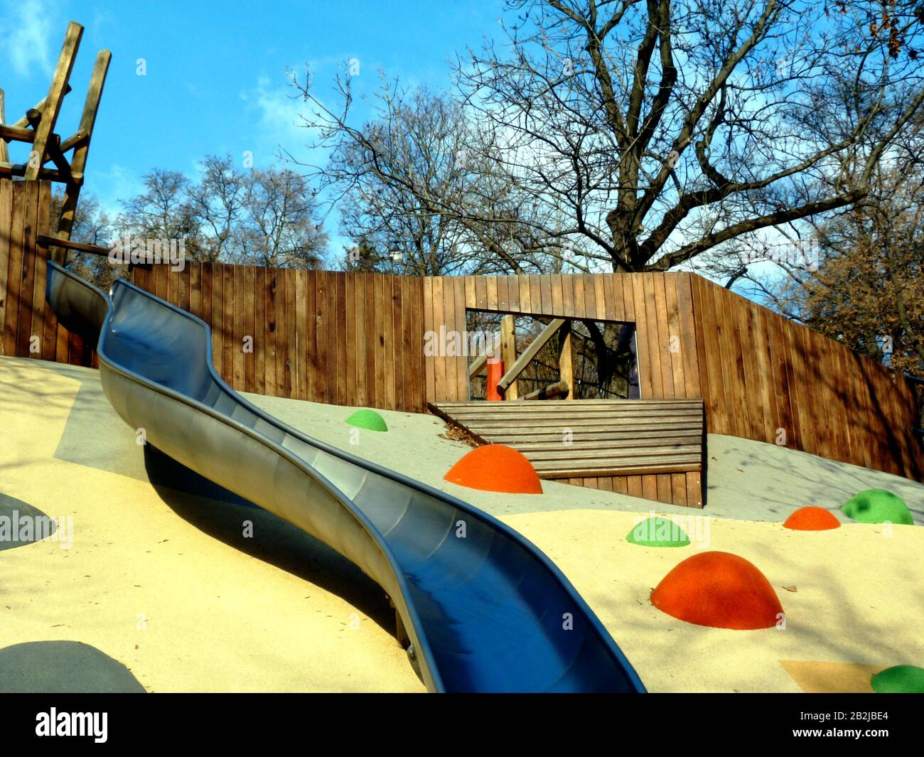 Stainless Steel Slide In Public Park Colorful Orange Yellow And