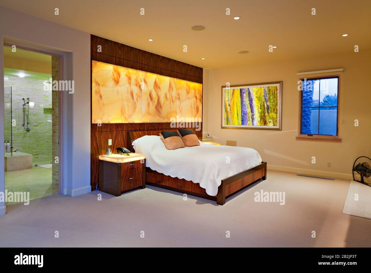 Modern Master Bedroom Interior Design In Luxurious Manor House Stock Photo Alamy