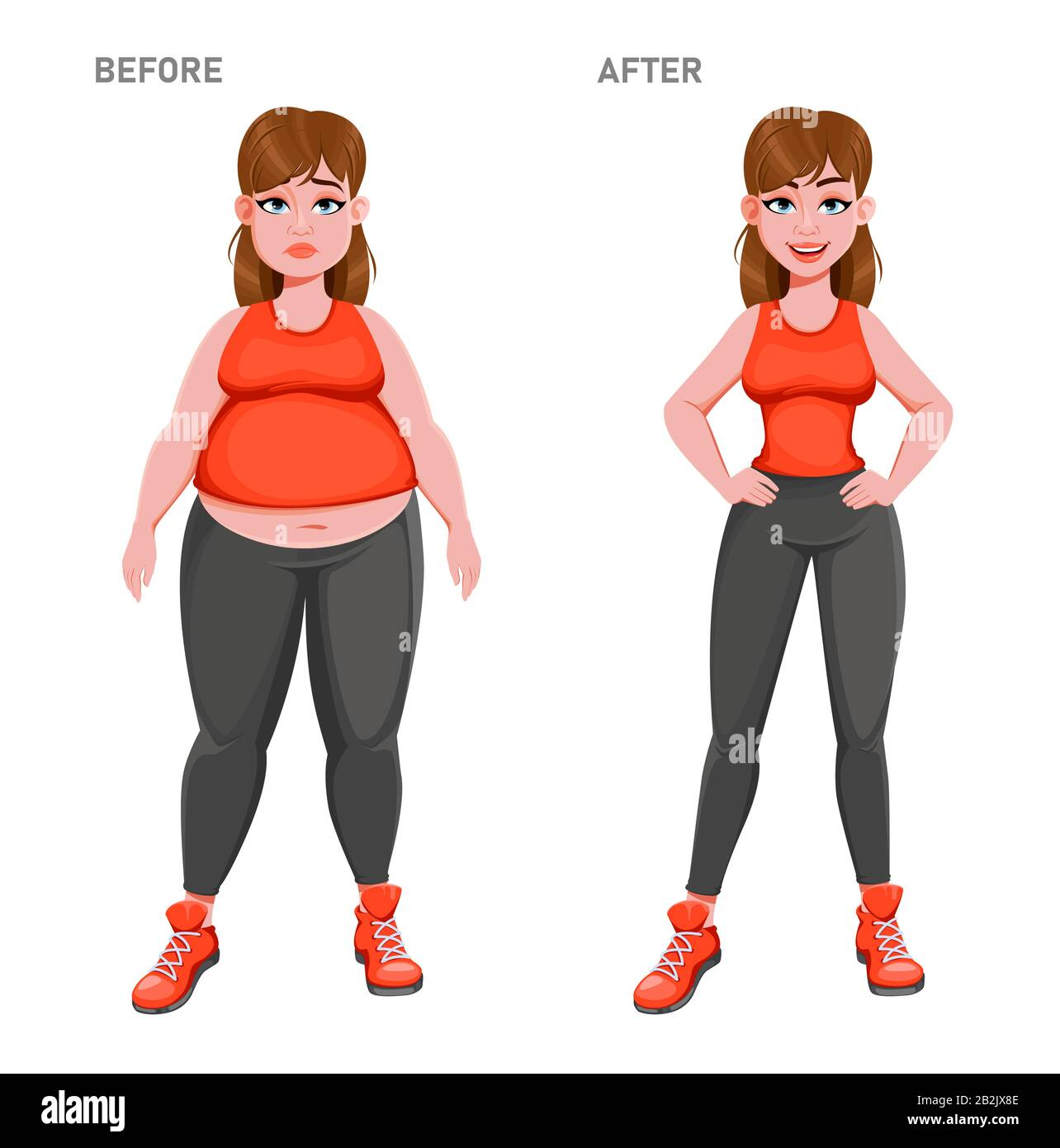 Nice Girl Before And After Weight Loss Overweight And Slim Woman Cartoon Character Stock Vector Stock Vector Image Art Alamy