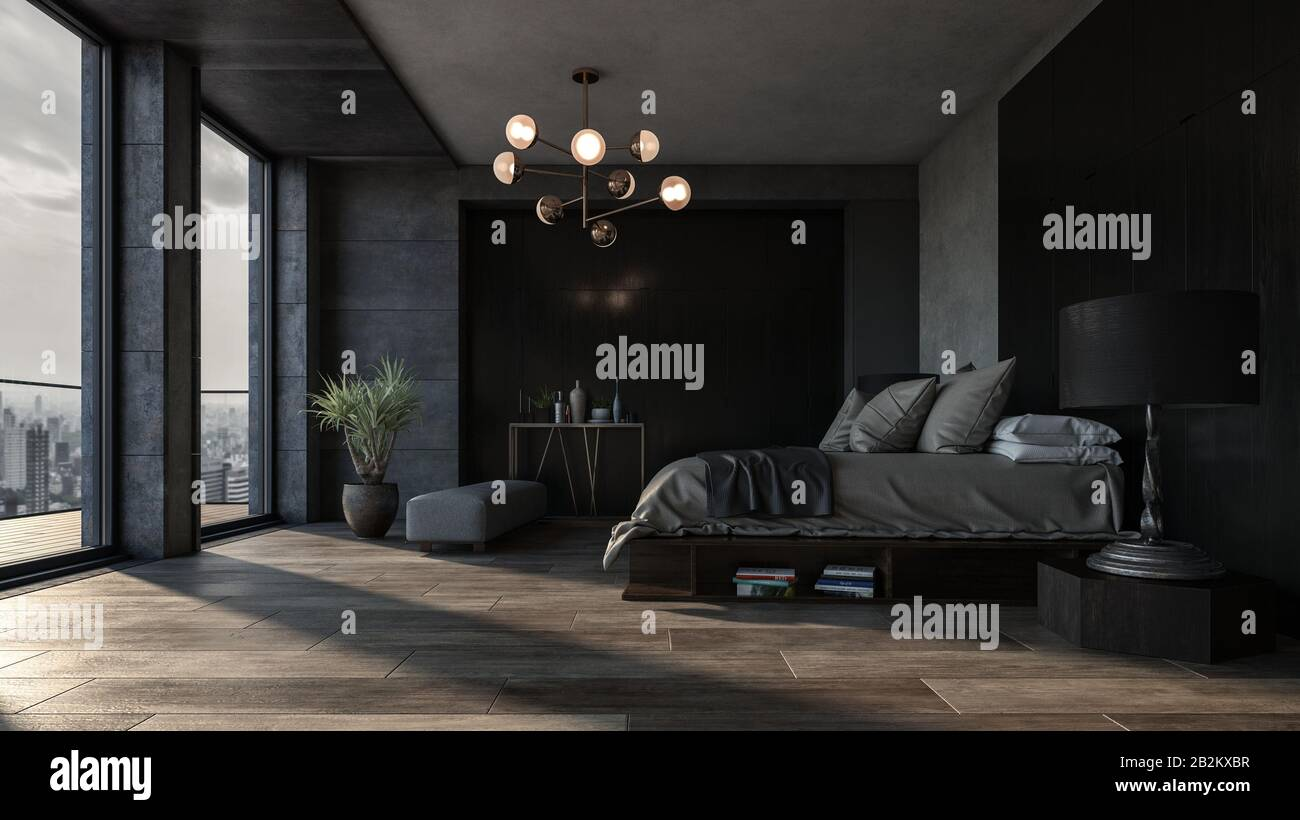 Bedroom With Dark Interior Design And Panoramic View Of City Downtown Against King Size Bed Luxury Apartment Or Spacious Hotel Room Interior Concept Stock Photo Alamy