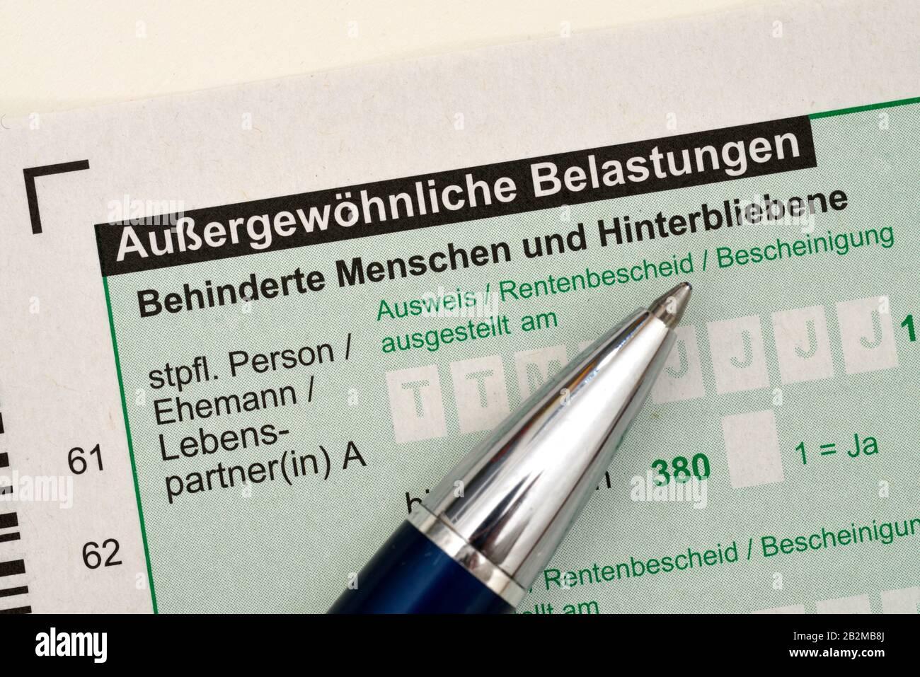 Steuererklaerung, Aussergewoehnliche Belastungen Stock Photo