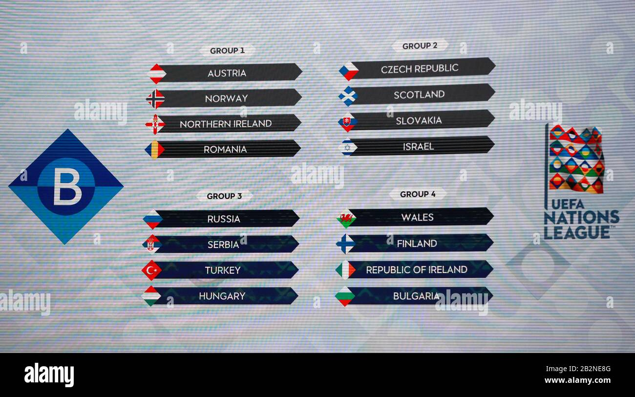 A General View Of The Groups On Screen During The Uefa Nations League 2020 21 Draw At The Beurs Van Berlage Conference Centre Amsterdam Stock Photo Alamy