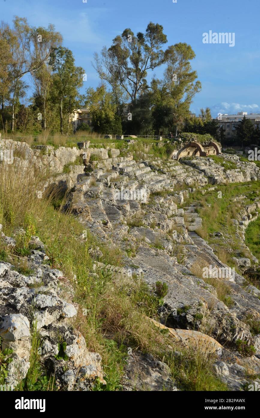 Anfiteatro Romano, Neapolis, Syrakus, Sizilien, Italien Stock Photo