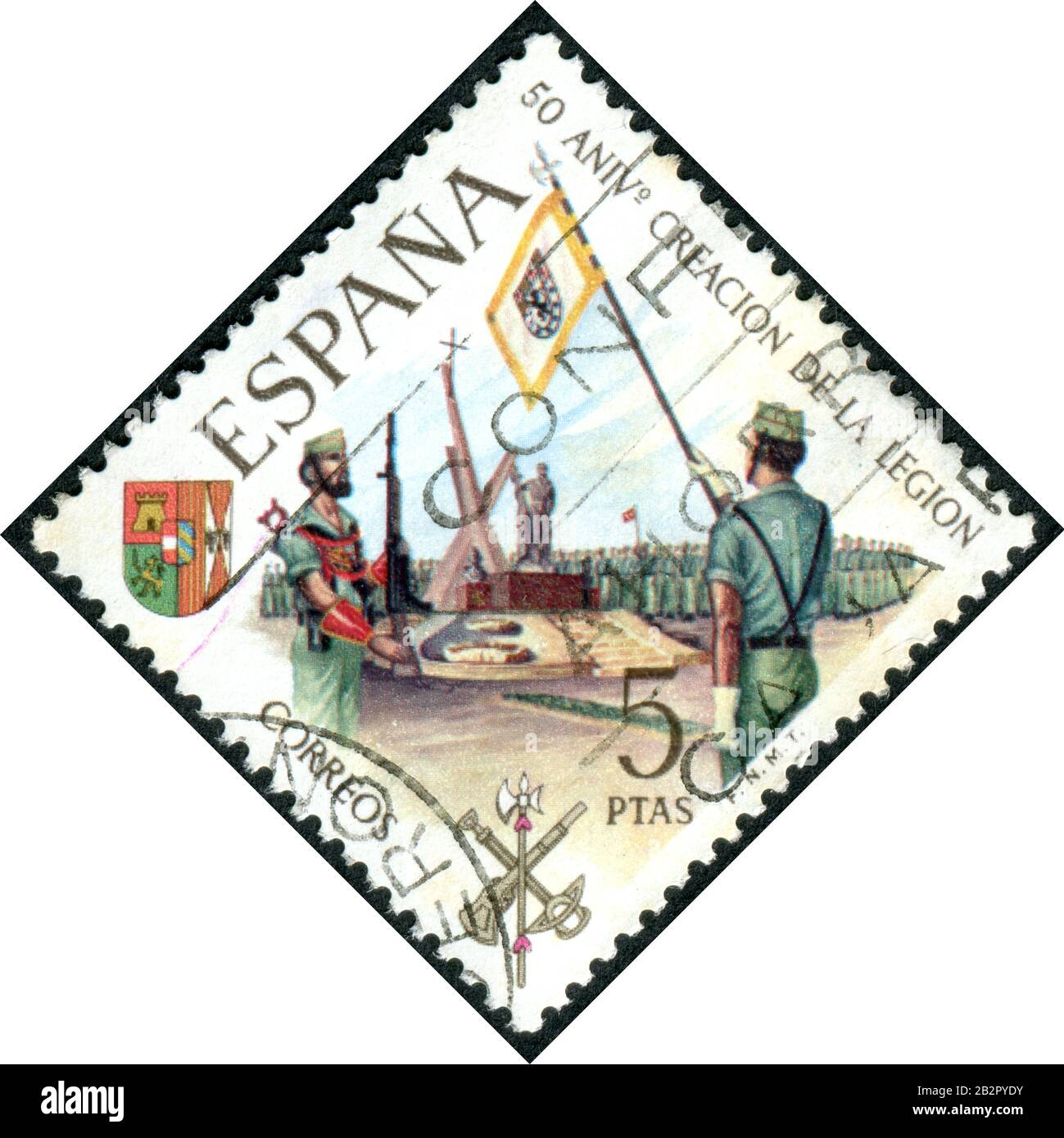 A stamp printed in Spain, dedicated to the 50th anniversary of the Legion, a voluntary military organization, depicts the Memorial service, circa 1971 Stock Photo