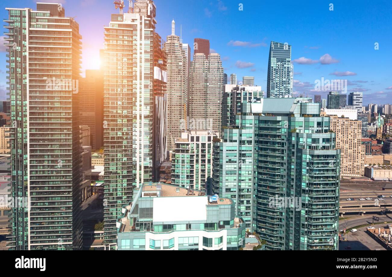New Toronto Residential condominiums in a trendy district near the lake shore facing Ontario lake Stock Photo