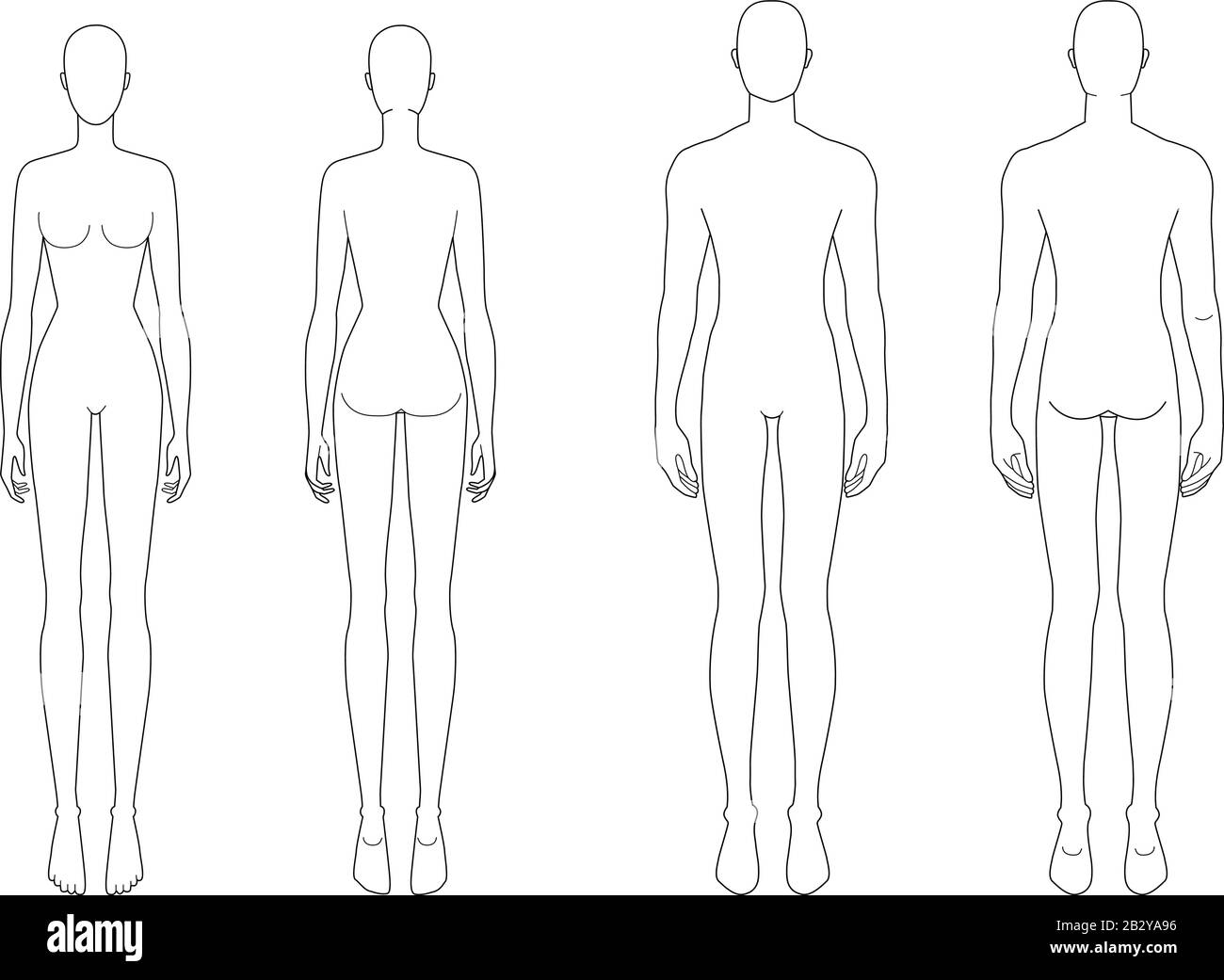Fashion Template Of Standing Men And Women 9 Head Size For Technical Drawing Gentlemen And Lady Figure Front And Back View Vector Outline Boy And Girl For Fashion Sketching And Illustration Stock