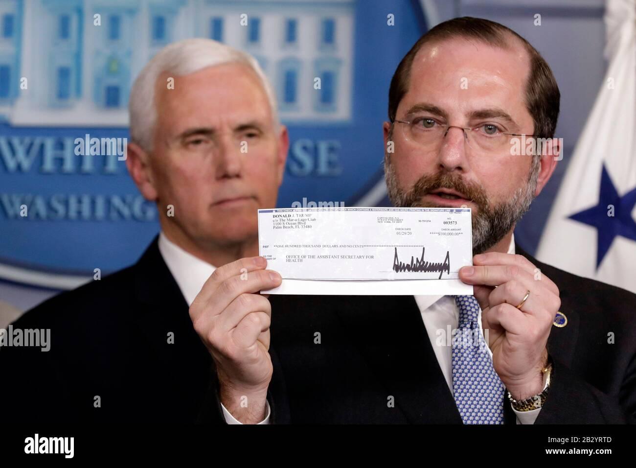 Washington United States Of America 03rd Mar 2020 U S Health And Human Services Hhs Secretary Alex