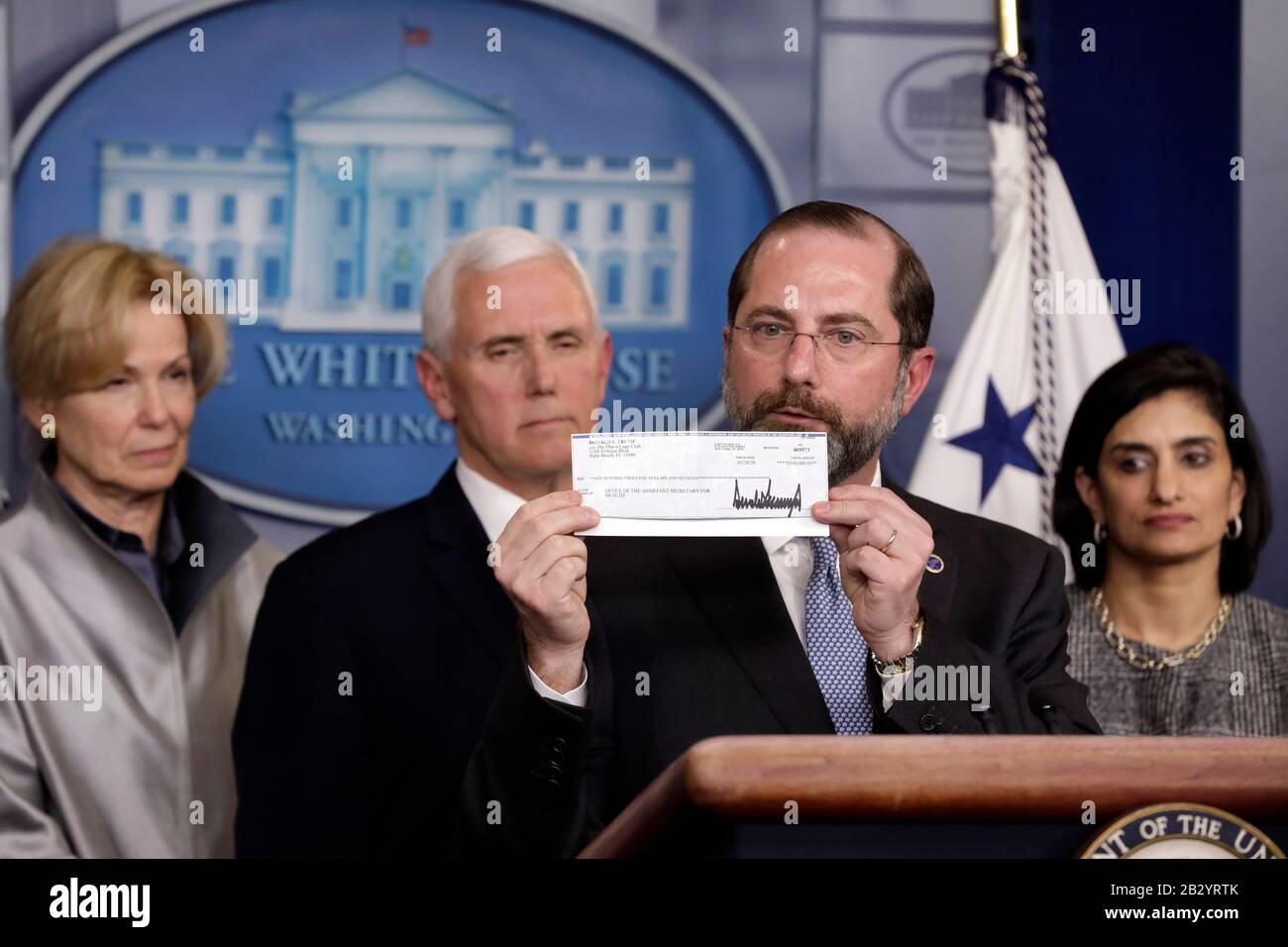 U S Health And Human Services Hhs Secretary Alex Azar Holds 100 000 Q4 Salary Check Donated To