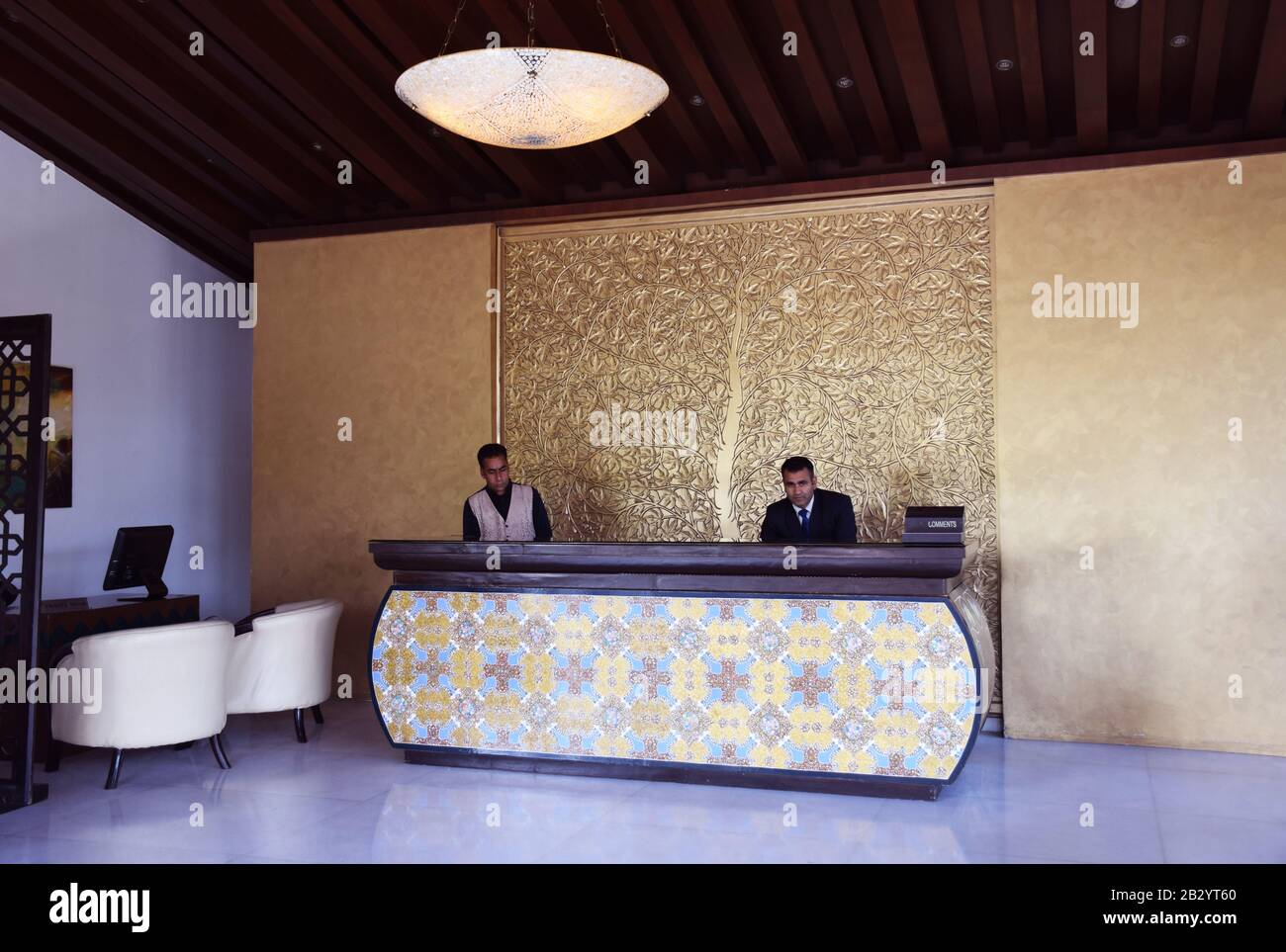 A Hotel reception desk in an Indian Hotel Stock Photo