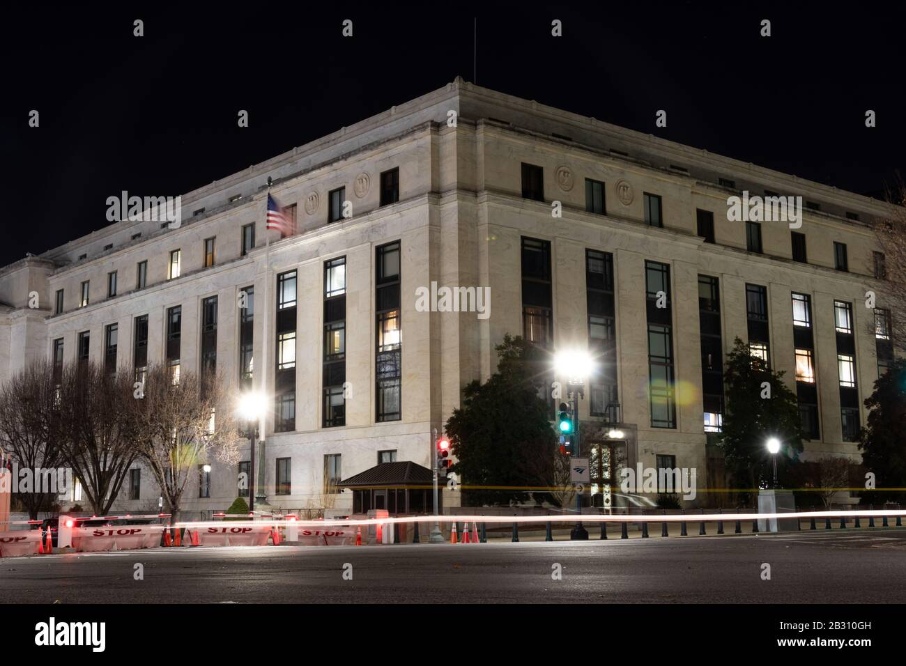 Dirksen Senate Office Building on Constitution Avenue across from the U.S. Capitol seen at night. Stock Photo