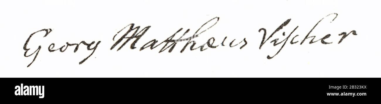 Georg Matthäus Vischer Signatur aus 1684. Stock Photo