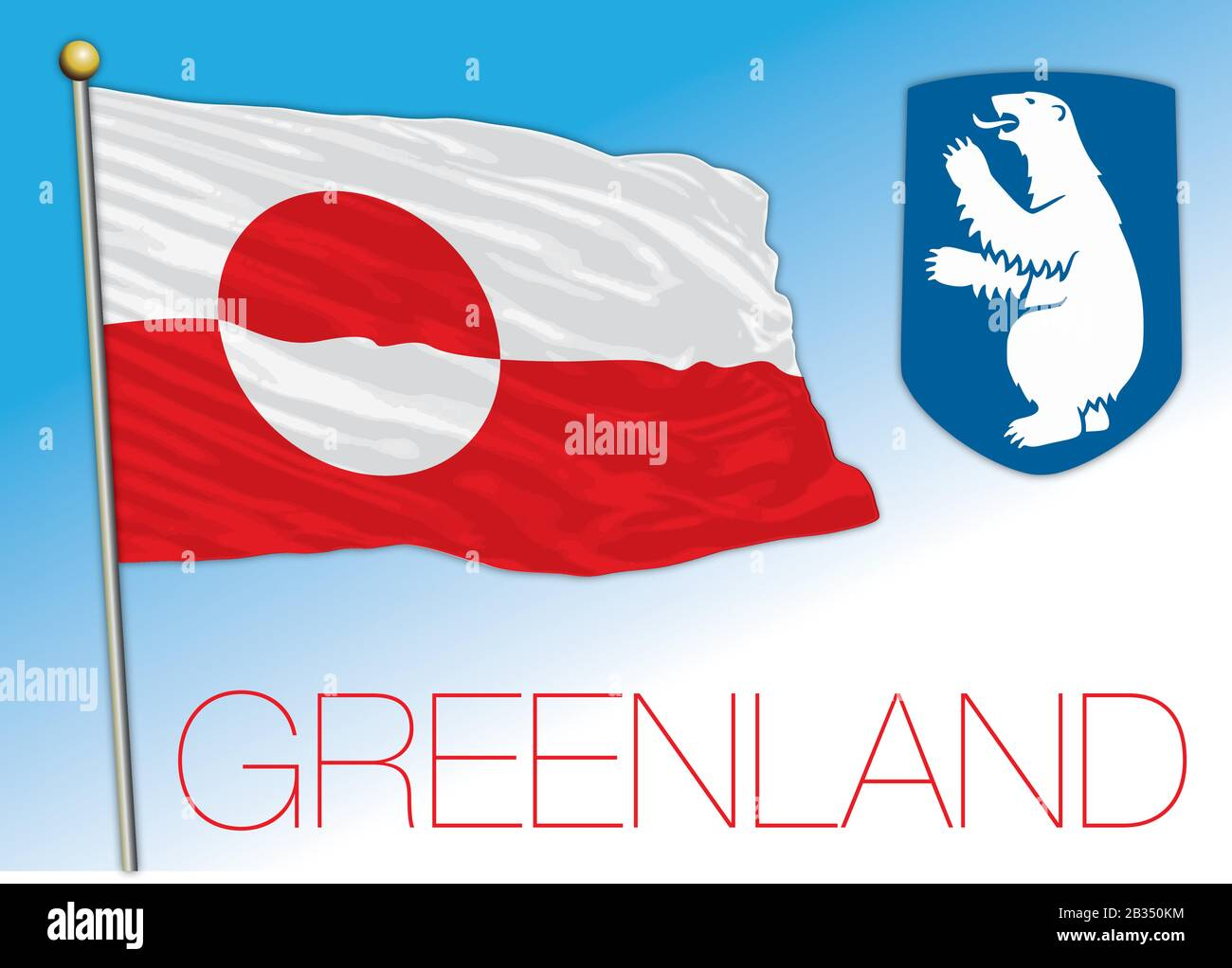 Greenland official national flag and coat of arms, american territory, Denmark, vector illustration Stock Vector