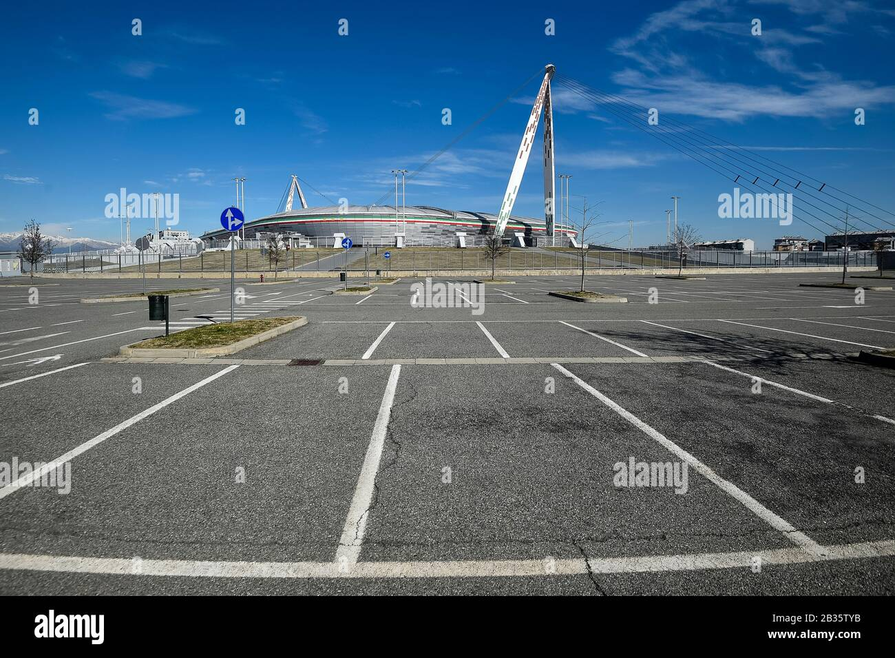 Turin Italy March 04 2020 An Empty Parking Is Seen Outside Desert Allianz Stadium Also Known