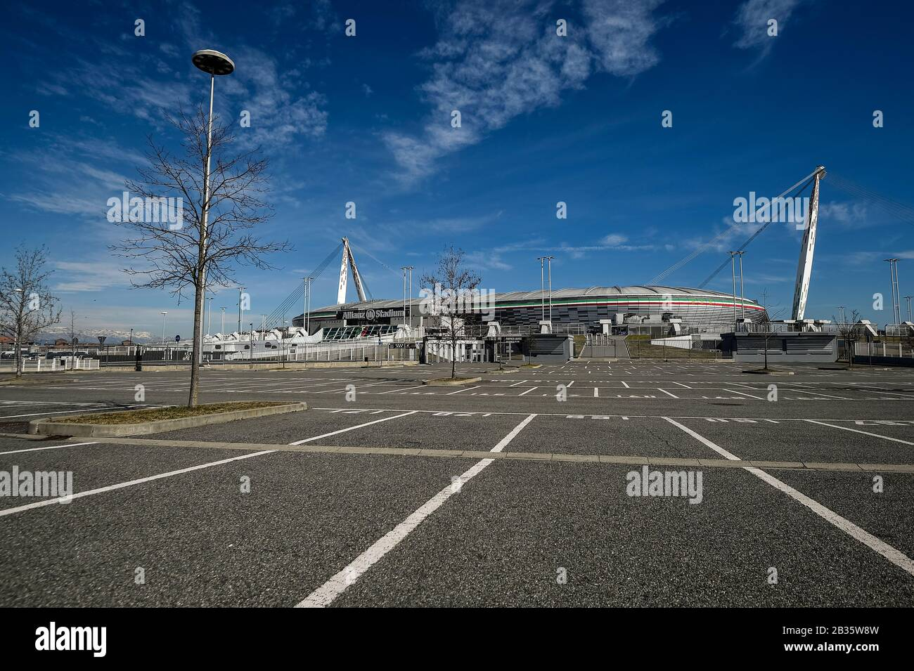 Turin Italy March 04 2020 An Empty Parking Is Seen Outside Allianz Stadium Also Known As