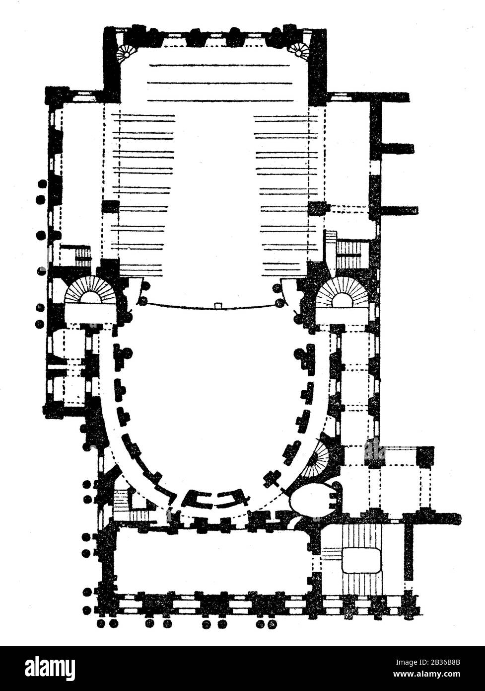 Ground plan of the Royal Opera of Versailles, France, 1860s Stock Photo