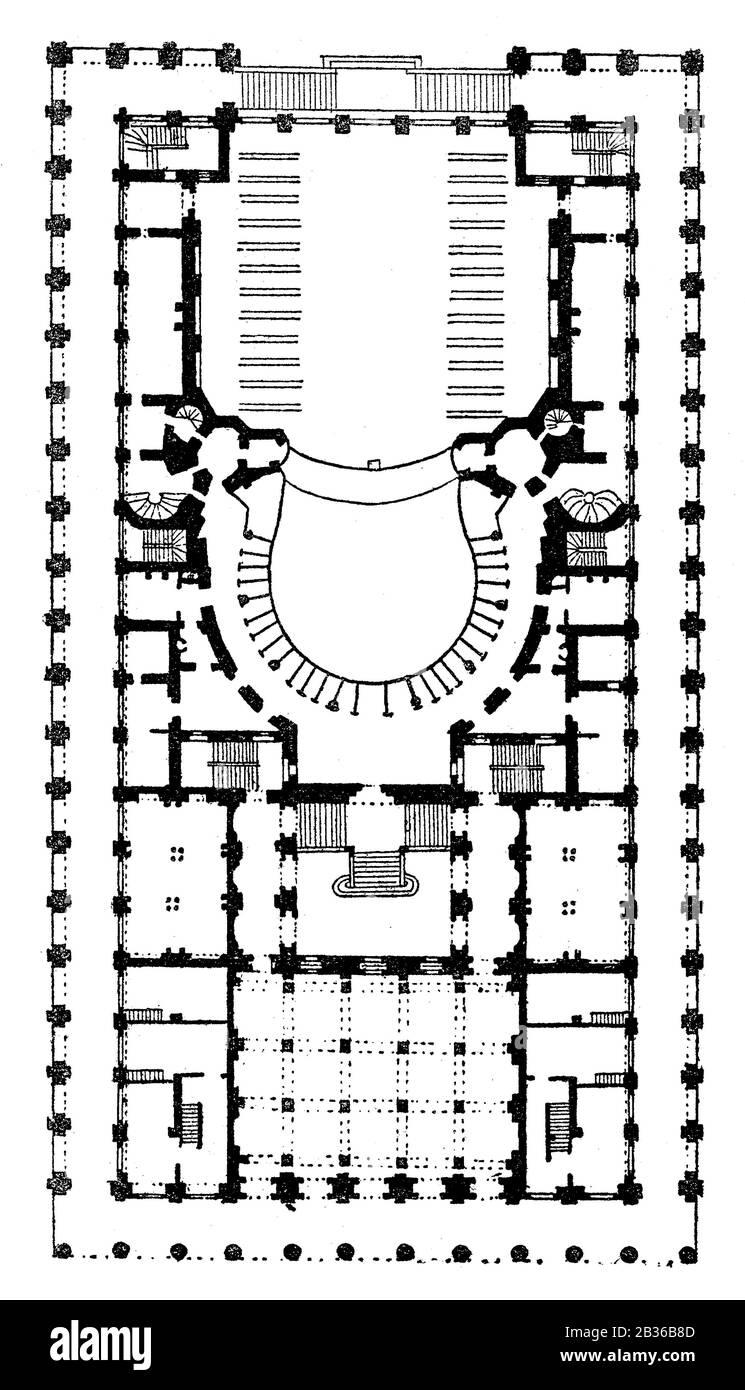 Ground plan of the Grand Théâtre de Bordeaux, Bordeaux, France, 1860s Stock Photo