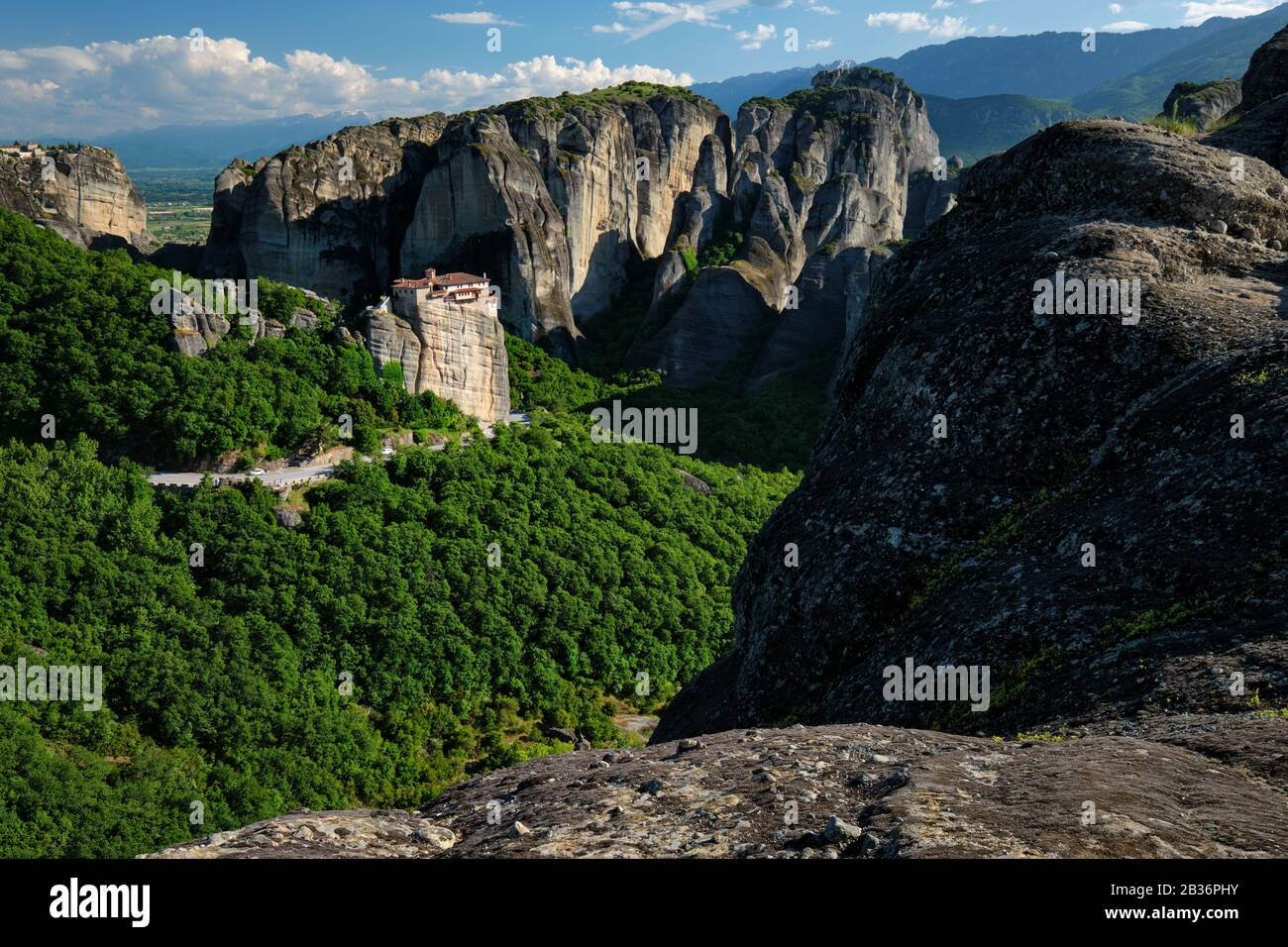 Monastery of Rousanou and Monastery of St. Stephen in Meteora in Greece Stock Photo
