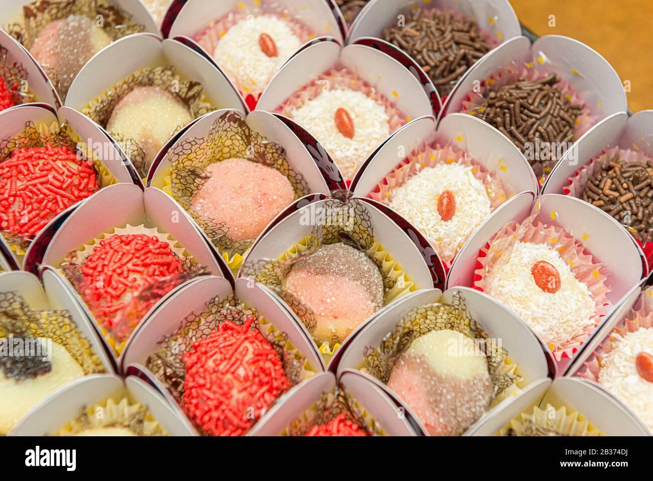 Brilliant Top View Of Assorted Delicious Candies Chocolate Balls Birthday Funny Birthday Cards Online Inifodamsfinfo
