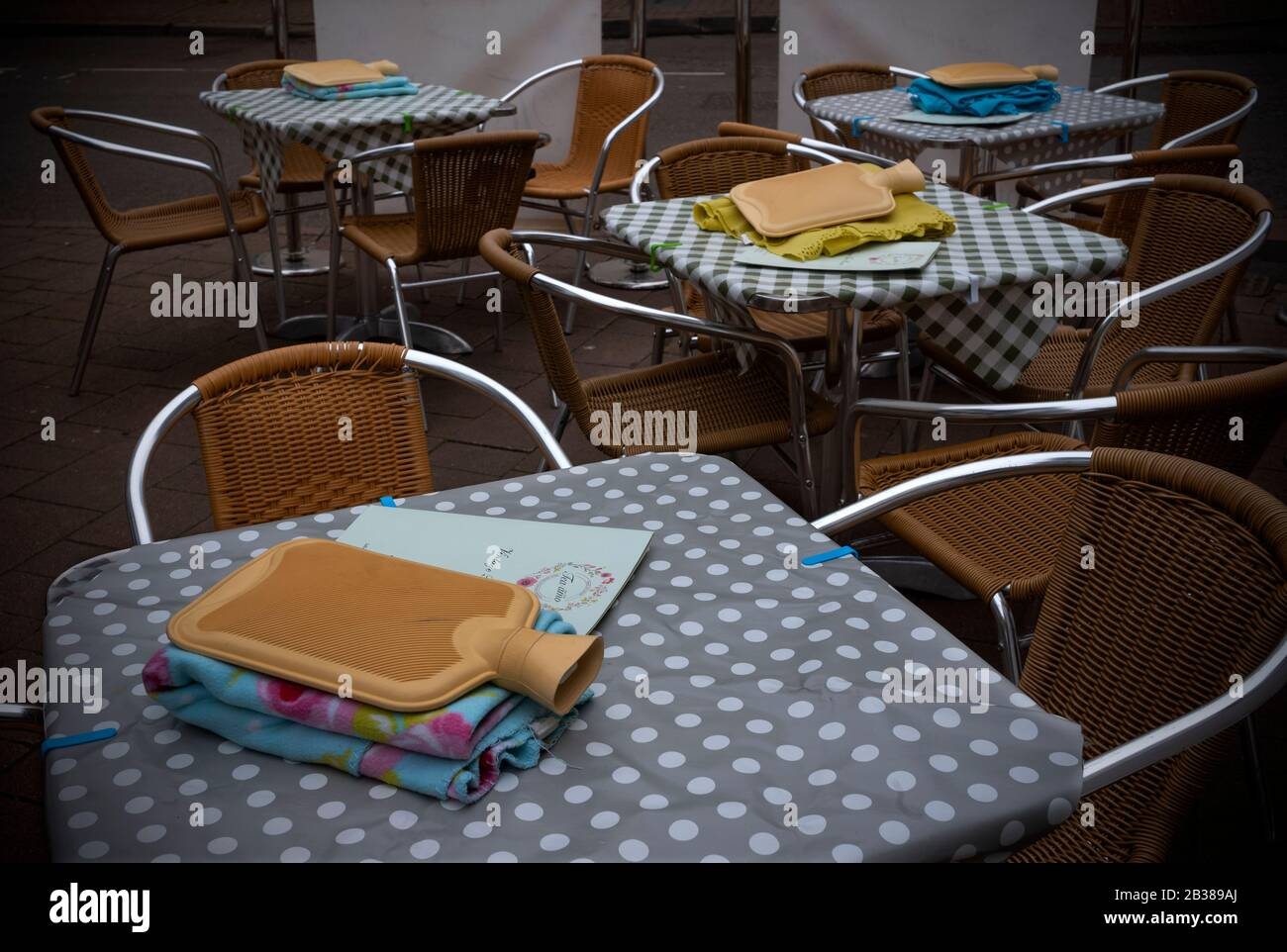 Saffron Walden, UK. 04th Mar, 2020. Saffron Walden Essex UK. Hot water bottle and blanket waiting for outdoor customers on a cold spring day at local Vintage Tea Rooms. 4 March 2020 Credit: BRIAN HARRIS/Alamy Live News Stock Photo