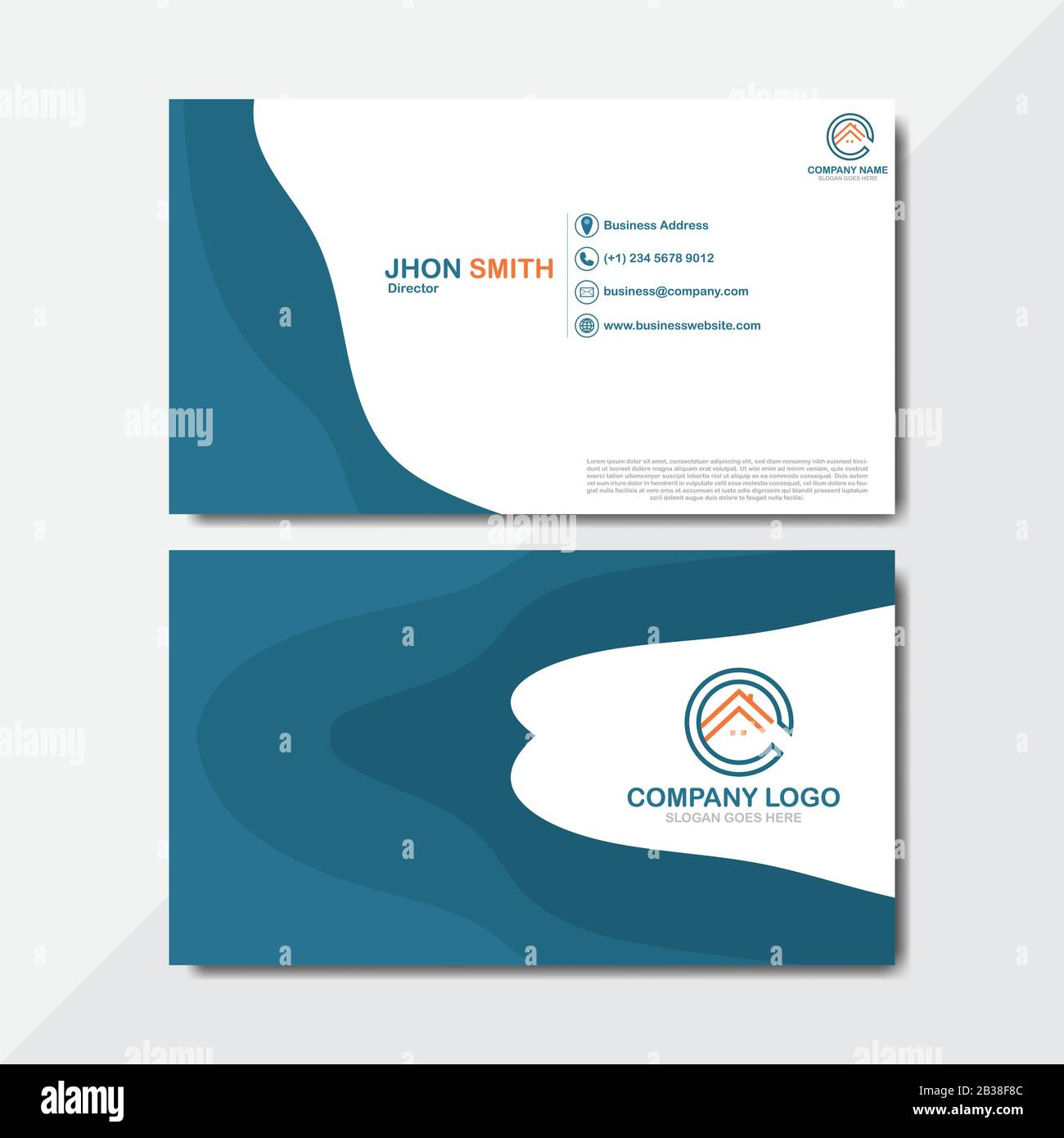 Double Sided Business Card Template Flat Design Vector Illustration Abstract Modern Business Card Template Design Name Card Stock Vector Image Art Alamy