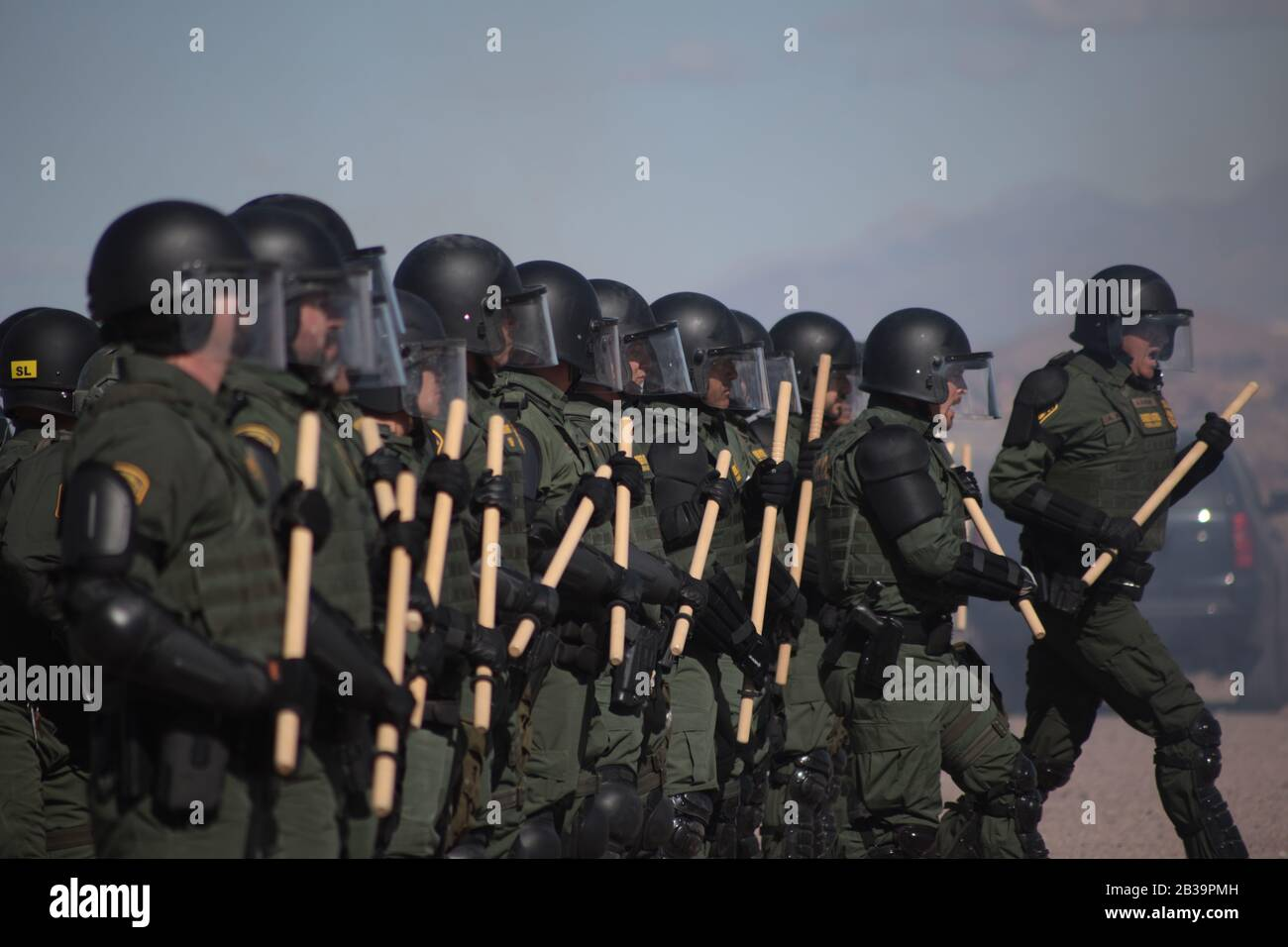Border Patrol Agents Conduct Trial to Stop Migrants Should They Want to Cross the Border Stock Photo