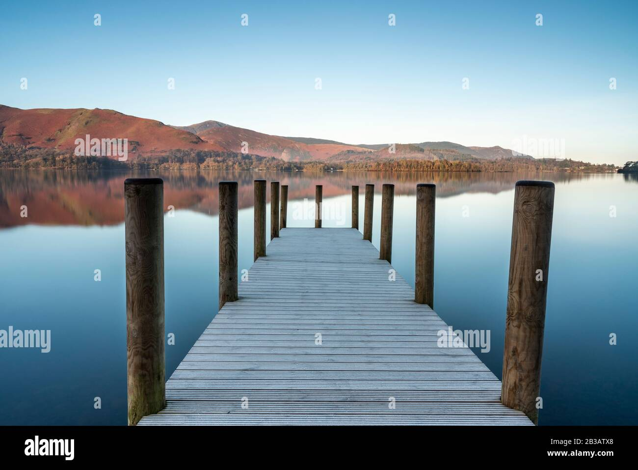 Reflections of Ashness Gate or Barrow Bay new jetty in Derwentwater, Lake District National Park, Cumbria, England, UK Stock Photo