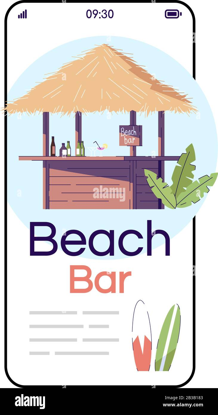 Beach Bar Cartoon Smartphone Vector App Screen Bali Resort Outdoor Cafe Indonesia Tourism Mobile Phone Display With Flat Character Design Mockup Stock Vector Image Art Alamy