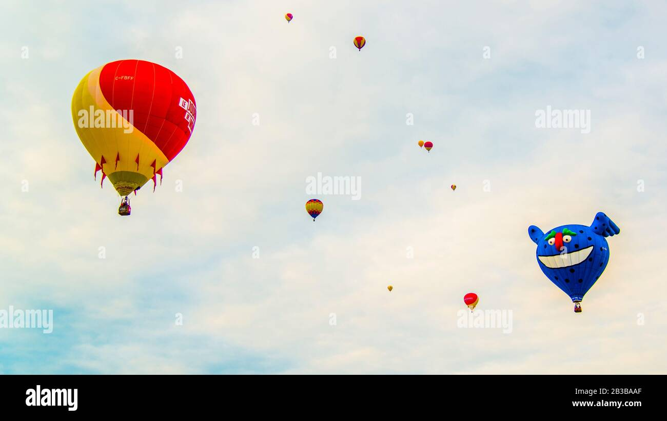 Saint-Jean-sur-Richelieu, Canada - August 18 2019: International Montgolfière Ballon festival in Saint-Jean in Canada Stock Photo