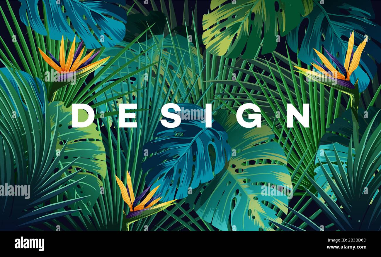 Bright Tropical Background With Jungle Plants Exotic Pattern With Palm Leaves Stock Vector Image Art Alamy ✓ free for commercial use ✓ high quality images. https www alamy com bright tropical background with jungle plants exotic pattern with palm leaves image346303173 html