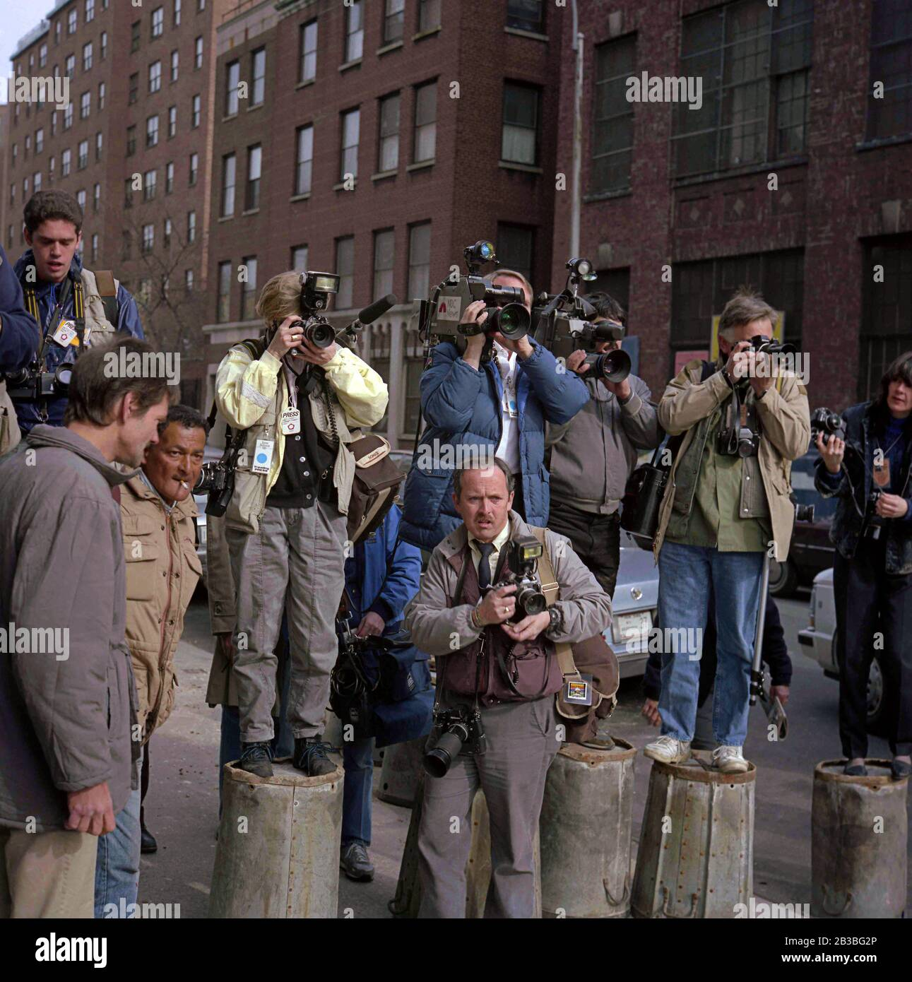 Photojournalists on the Jesse Jackson Presidential campaign in the Bronx, New York City Stock Photo