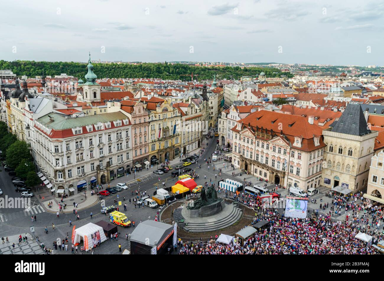 Prague, Czech Republic May 15, 2015: View from the famous Old Town Hall in Prague Czech Republic Stock Photo