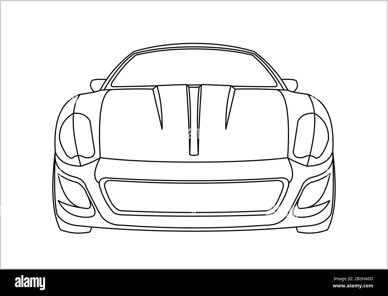 - Outline Car Coloring Book For Kids And Adults. Fast Racing Car