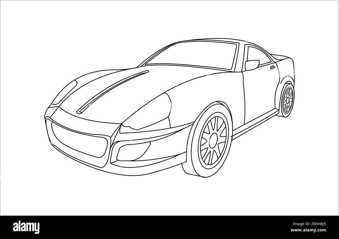 - Outline Car For Coloring Book For Kids And Adults. Fast, Racing