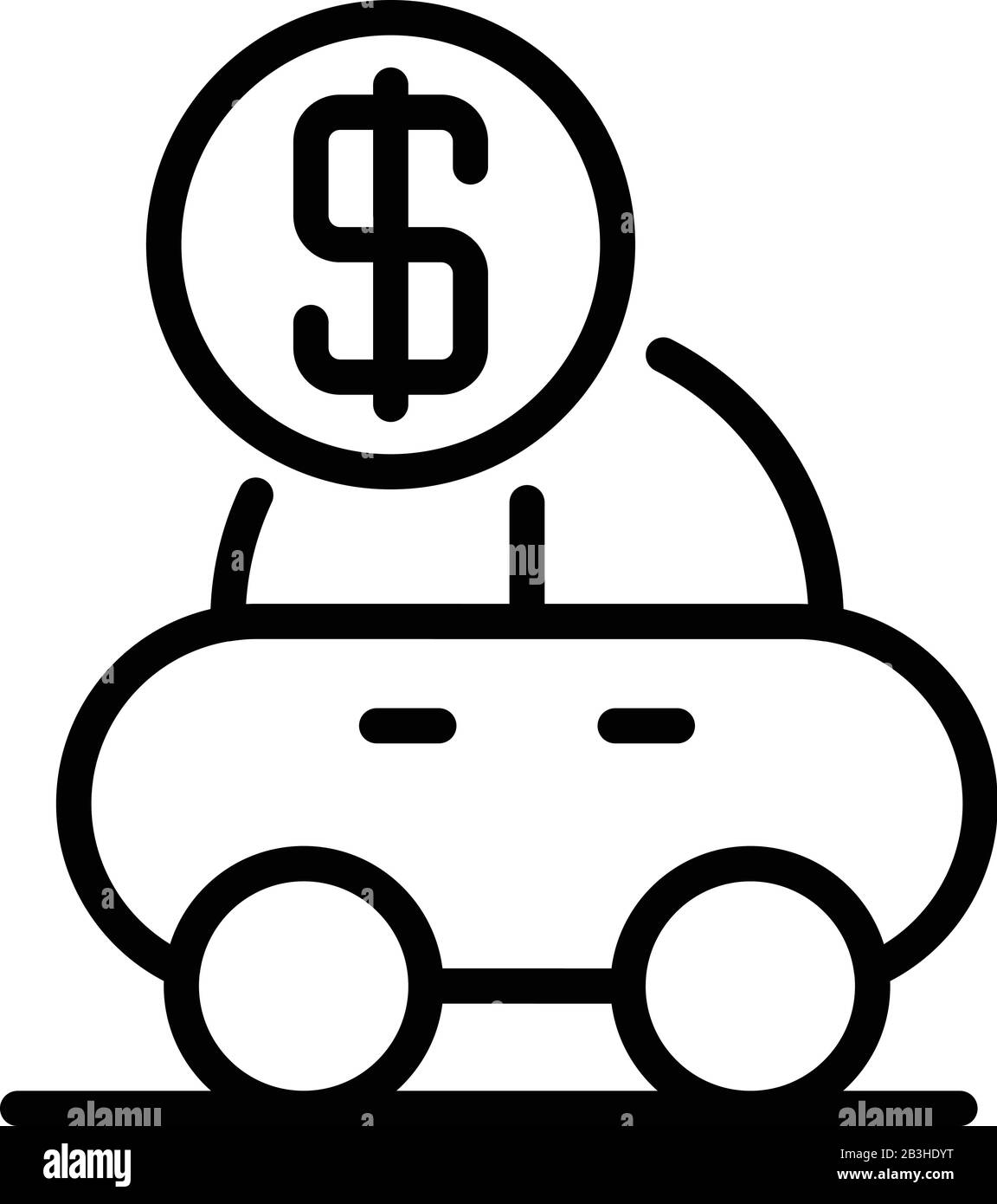 Loan car icon, outline style Stock Vector