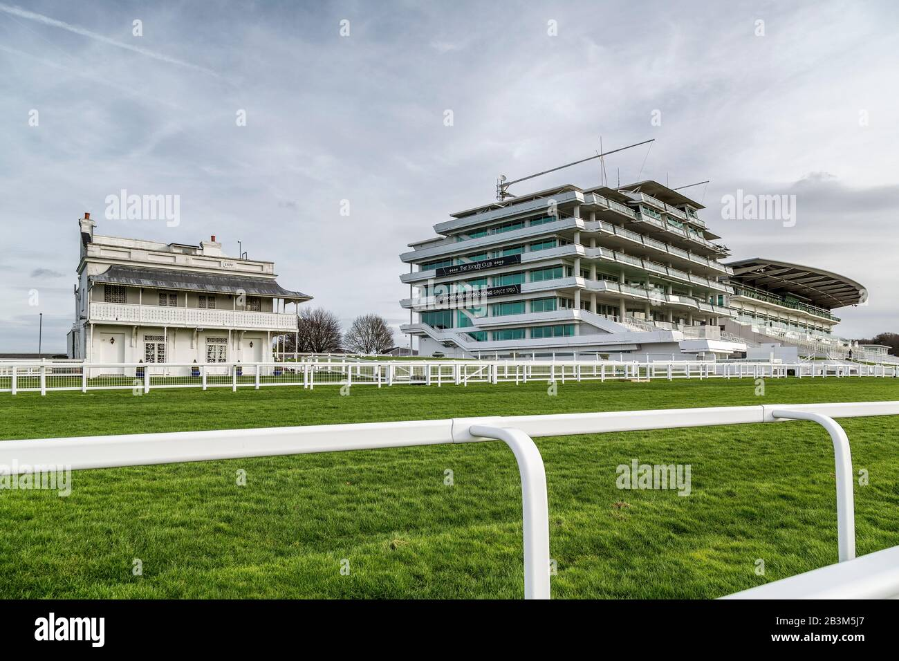 The Prince's Stand, Queens Stand and Duchess's Stand at Epsom Downs racecourse pictured on a non race day. Stock Photo