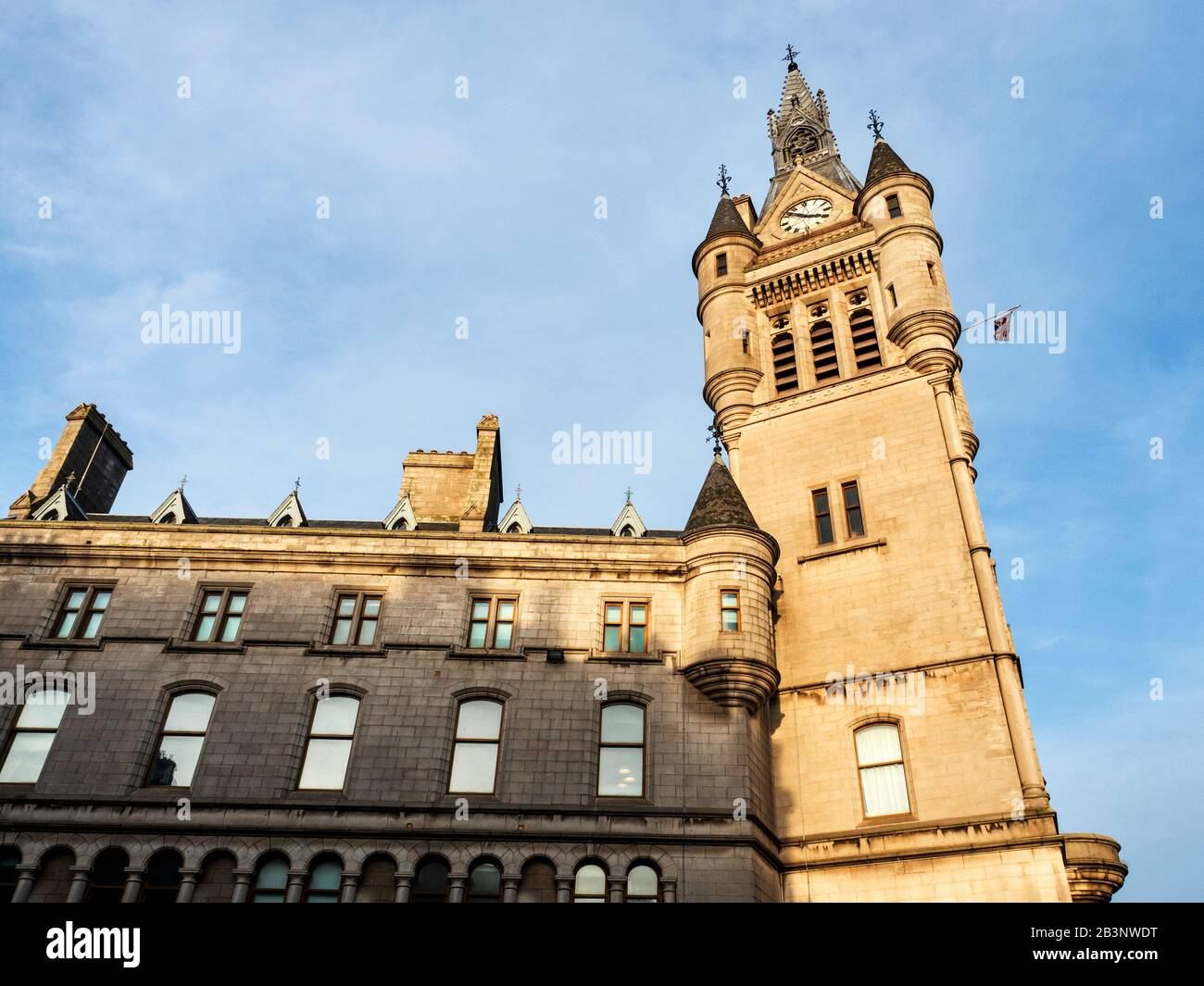 The tower of the Town House at the corner of Broad Street and Union Street Aberdeen Scotland Stock Photo