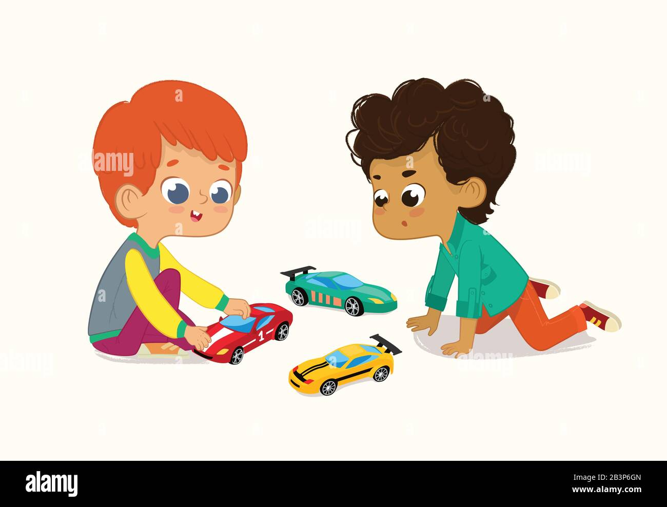 Illustration Of Two Cute Boys Playing With Their Toys Cars Red Hair Boy Shows And Shares His Toy Cars To His African American Friend Stock Vector Image Art Alamy