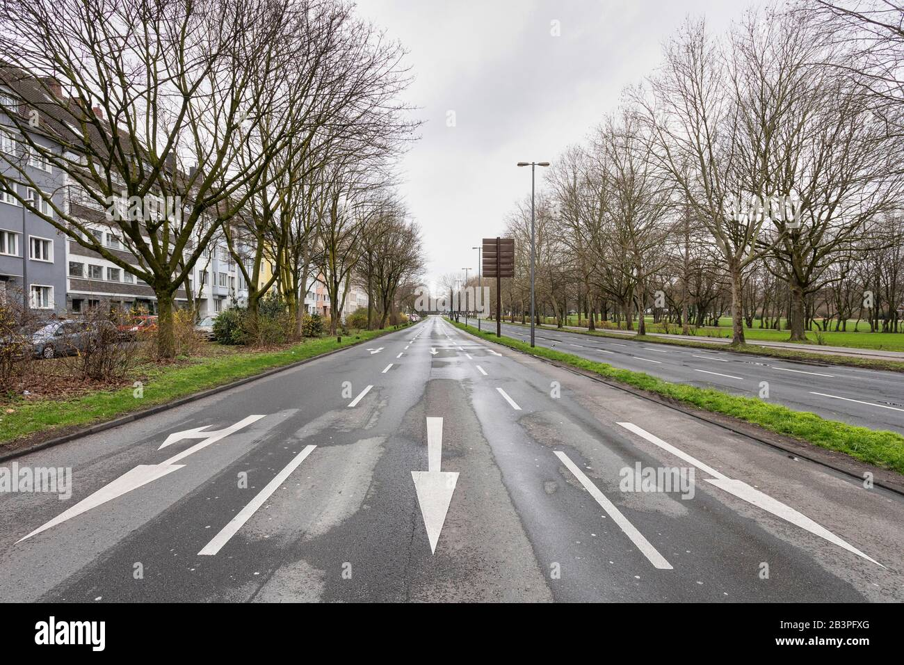 After a water pipe burst and the subsidence of part of the road surface, the main artery of the Cologne traffic is closed for several days. Stock Photo
