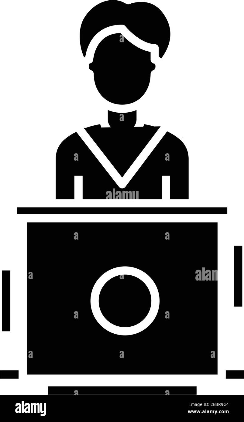 scientist speech black icon concept illustration vector flat symbol glyph sign stock vector image art alamy alamy