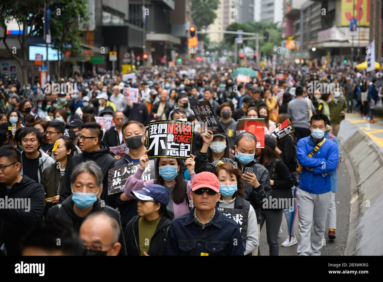 Hong Kong - Jan 1, 2020: A million attend demo, demand for universal suffrage, 2020 direct democratic elections for Legislative Council without functi Stock Photo