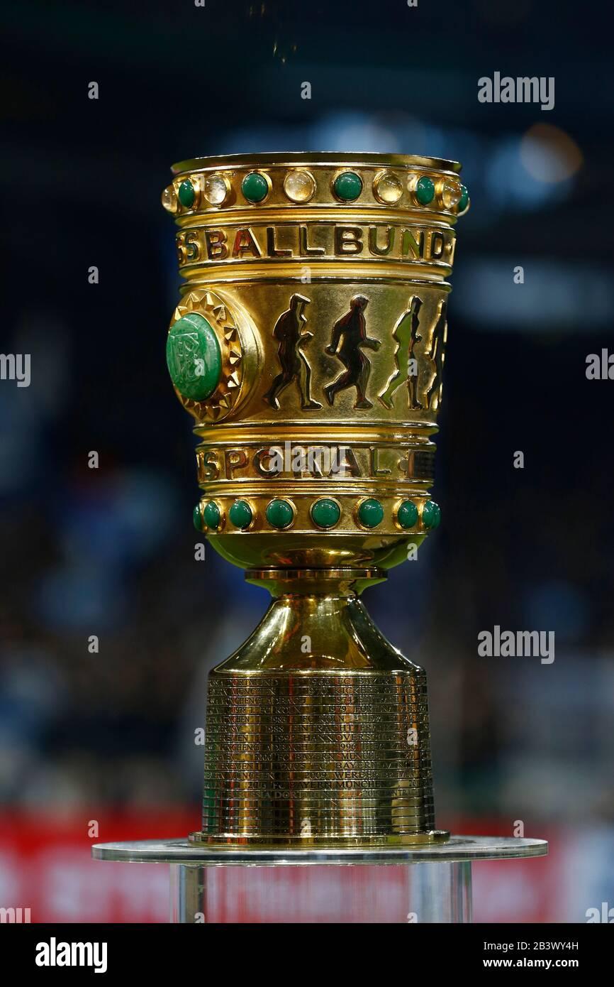 Gelsenkirchen Germany 3rd Mar 2020 Dfb Pokal Trophy Football Soccer Germany Dfb Pokal Quarter Finals Match Between Fc Schalke 04 0 1 Fc Bayern Munich At The Veltins Arena In Gelsenkirchen Germany Credit