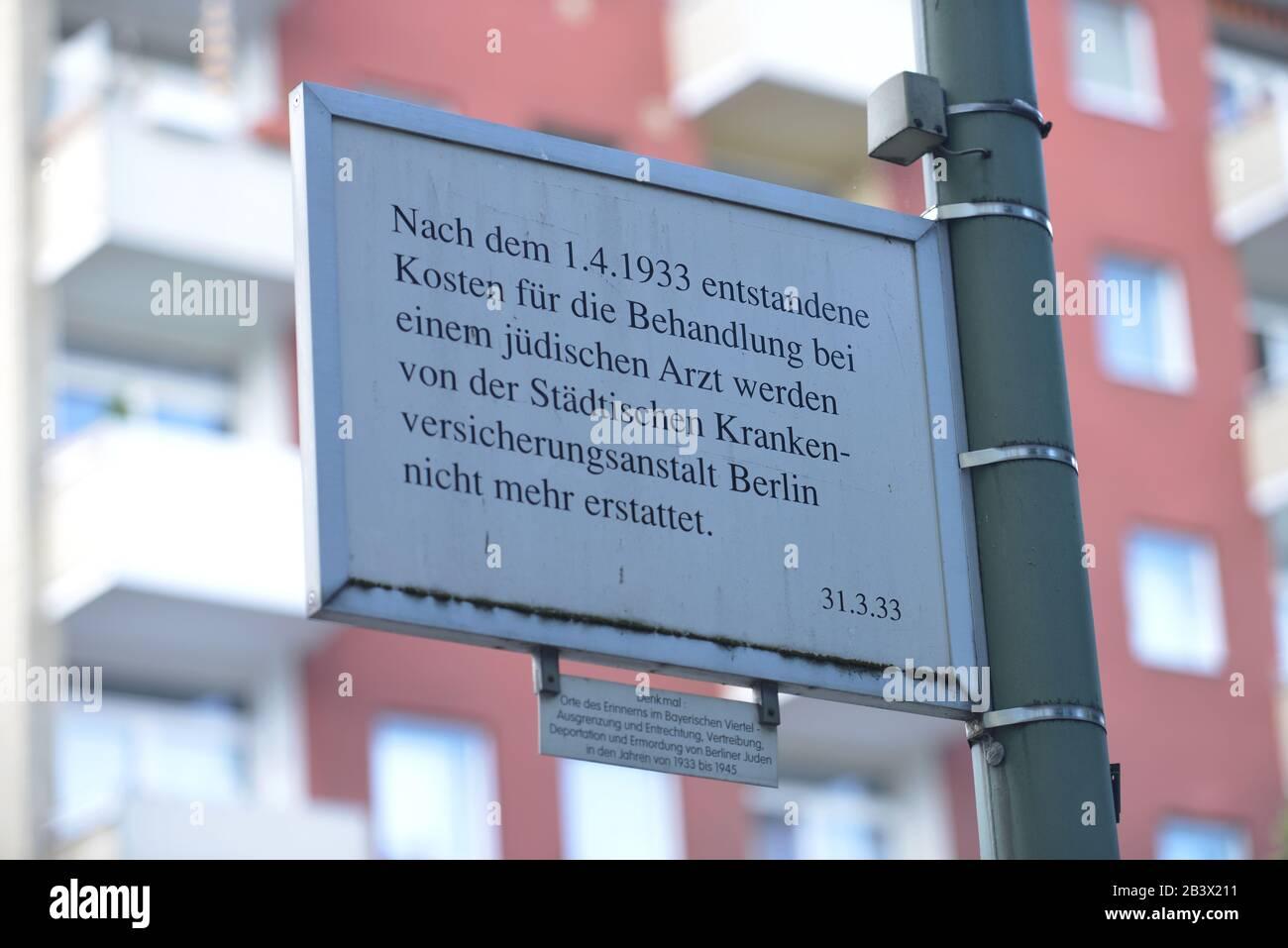 Gedenktafel, Judenverfolgung, Bayerisches Viertel, Schoeneberg, Berlin, Deutschland / Schöneberg Stock Photo